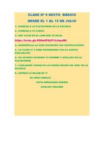 6º A B INGLÈS INSTRUCCIONES PARA LA CLASE Nº 9