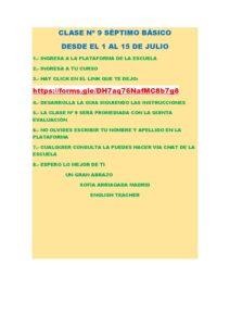 7º A B INGLÉS INSTRUCCIONES PARA LA CLASE Nº 9