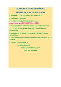8º A B INGLÉS INSTRUCCIONES PARA LA CLASE Nº 9