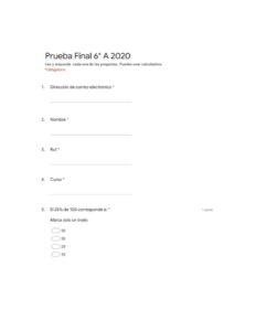 Prueba final 6°A 2020
